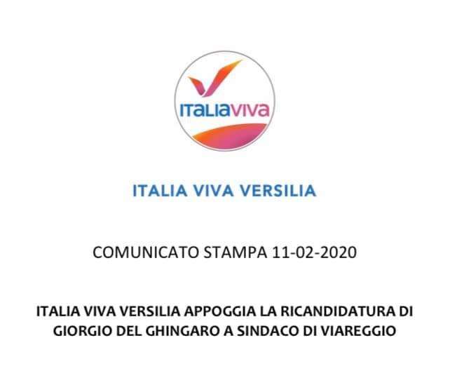 ITALIA VIVA VERSILIA APPOGGIA LA RICANDIDATURA DI GIORGIO DEL GHINGARO A SINDACO DI VIAREGGIO